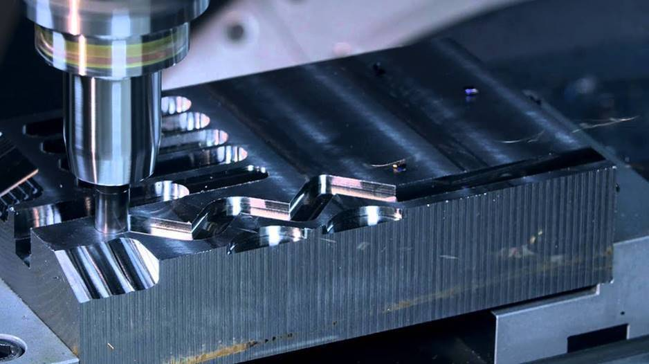 A close up image of our advanced CNC precision machining service at one of our professional shops. This image shows the process during an aerospace industry project.
